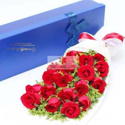18朵红玫瑰,礼盒装,为你打造一世幸福