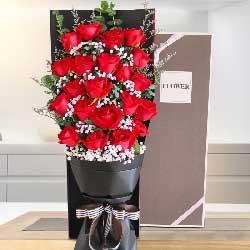 21朵红玫瑰,礼盒装,甜甜蜜蜜长相依