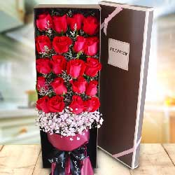 20朵红玫瑰,礼盒装,一如既往地爱你