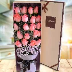 20朵戴安娜粉玫瑰,我们的心紧紧相依