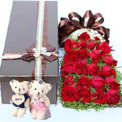 22朵红玫瑰,礼盒装,爱你是我一辈子的承诺