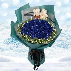 33朵蓝色玫瑰,与你相守一生到永远