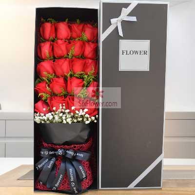 20朵红玫瑰,礼盒装,携手共度美好人生