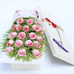 19朵戴安娜粉玫瑰,礼盒装,我会爱你一生