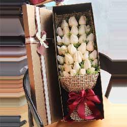 33朵香槟玫瑰,礼盒装,我爱你至死不渝