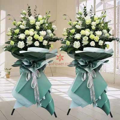 19朵白玫瑰,三脚架开业花篮,生意会越做越好