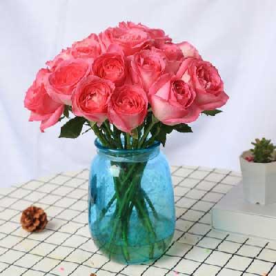 19朵粉玫瑰,瓶插花,爱你一生一世