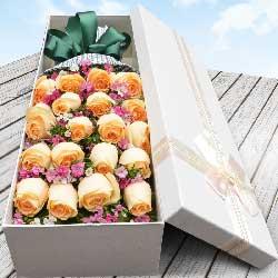 19朵香槟玫瑰,礼盒装,爱情永远甜蜜