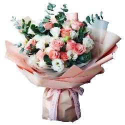 11朵粉玫瑰,16朵白色桔梗,难忘一辈子