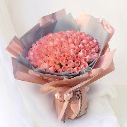 99朵戴安娜粉玫瑰,爱你我愿意付出一切