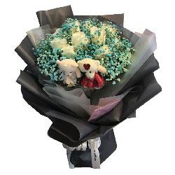 11朵白玫瑰,礼盒装,爱你一生