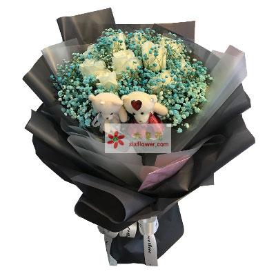 16朵白玫瑰,爱你一生