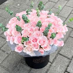 30朵戴安娜粉玫瑰,礼盒装,有你生活更美好