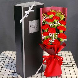11朵红色康乃馨,礼盒装,妈妈关爱的每天