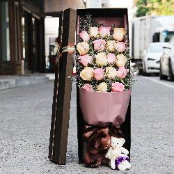 19朵玫瑰,礼盒装,愿你今夜能有一个好梦