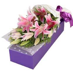 6支粉色多头百合,礼盒装,有你的陪伴真好