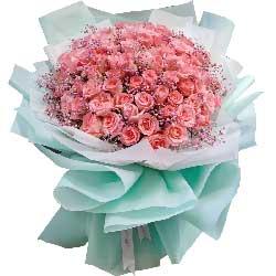33朵戴安娜粉玫瑰,有你真好