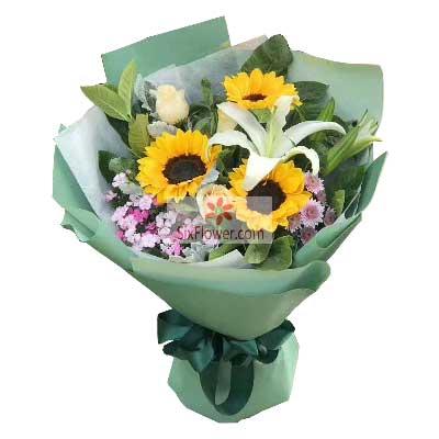 3朵向日葵,2朵香槟玫瑰,祝您快乐