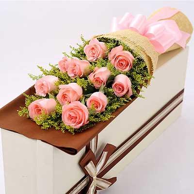 11朵戴安娜粉玫瑰,礼盒装,无论…