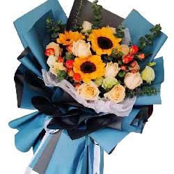 11朵香槟玫瑰,3朵向日葵,感谢有您