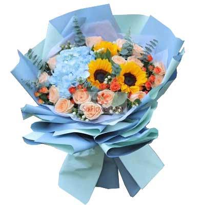 11朵香槟玫瑰,3朵向日葵,默默地为你祝福