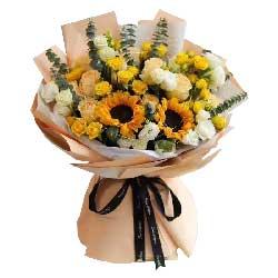 9朵香槟玫瑰,3朵向日葵,体会你