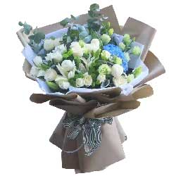 19朵白玫瑰,2支白色多头百合,我只有好想你