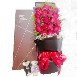 19朵红玫瑰,礼盒装,我愿和你相伴到永远