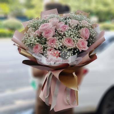 18朵粉玫瑰,心有灵犀
