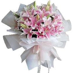 12支粉色多头百合,真心祝福