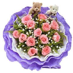 13朵粉玫瑰,是否喜欢我