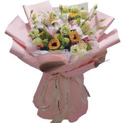 5朵向日葵,11朵香槟玫瑰,你是我耀眼的光芒