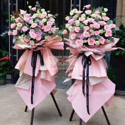22朵粉玫瑰,三脚架开业花篮,开业吉祥