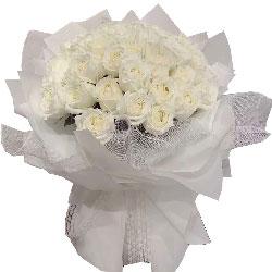30朵白玫瑰,用心的爱