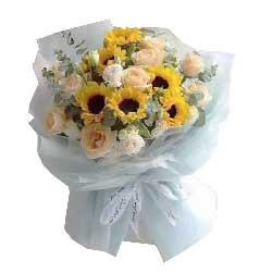 6朵向日葵,11朵香槟玫瑰,快乐开心一辈子