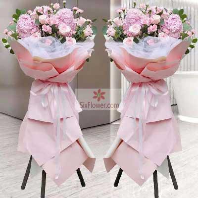 16朵粉色玫瑰,三脚架开业花篮,四季来财生意隆
