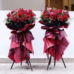 红色康乃馨扶郎花,三脚架花篮,愿生意如意