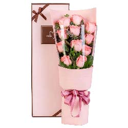 11朵戴安娜粉玫瑰,礼盒装,美丽永远