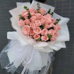 33朵戴安娜粉玫瑰,有你有爱情的甘甜