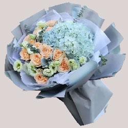 12朵香槟玫瑰,2只蓝色绣球花,谢谢你的爱