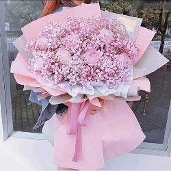 11朵戴安娜粉玫瑰,粉色满天星搭配,四季都爱你