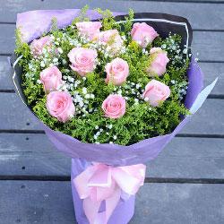 11朵戴安娜粉玫瑰,鹊桥搭进彼此的心
