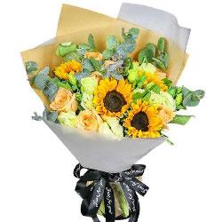 4朵向日葵,9朵香槟玫瑰,祝你健康永久
