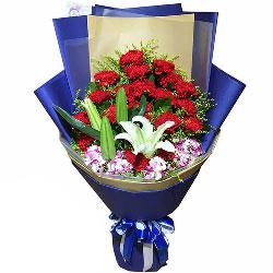 19朵红色康乃馨,2支白色多头百合,无私的爱