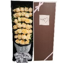 34朵香槟玫瑰,礼盒装,想你就像蜜一样甜