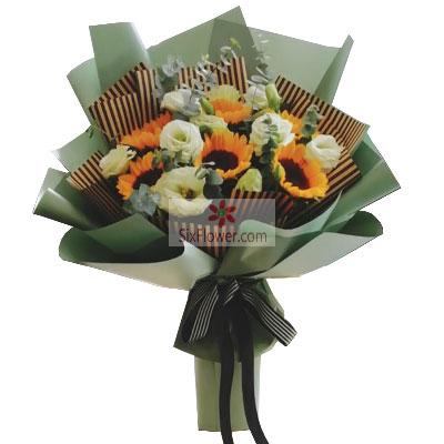 6朵向日葵,9朵桔梗,您是我生命…