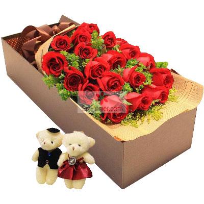 18朵红玫瑰,礼盒装,一辈子与你…