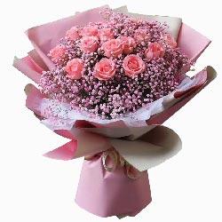 16朵戴安娜粉玫瑰,倾世的温柔