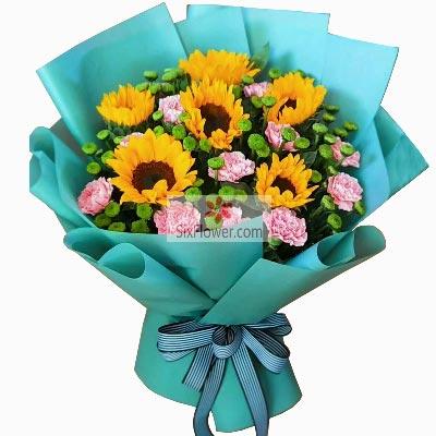 6朵向日葵,11朵粉色康乃馨,牵挂与祝福