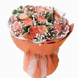 11朵粉玫瑰、11朵粉色康乃馨,天涯共此时